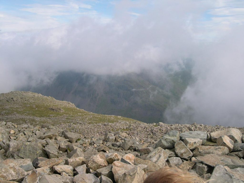 Looking down from the summit plateau
